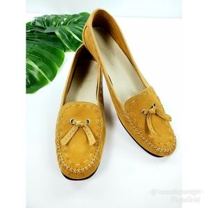 Cole Haan suede heeled loafers tan 8 1/2